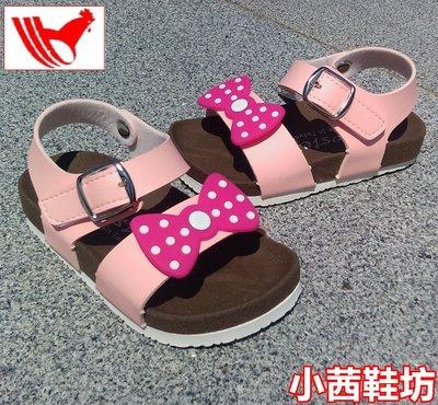 【小茜鞋坊🇹🇼Y拍館】Rooster 女童 粉色 舒適厚底質感皮革.蝴蝶結裝飾 平底涼鞋 休閒涼鞋 MIT製造