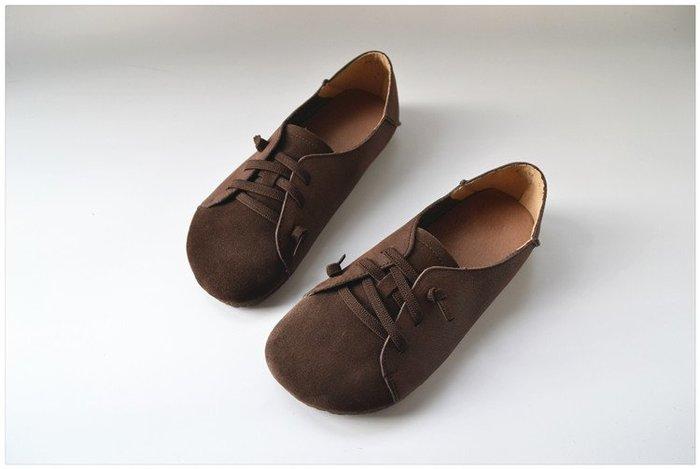 【子芸芳】真皮防踢一腳蹬單鞋女復古文藝軟底純皮鬆緊繩豆豆鞋透氣