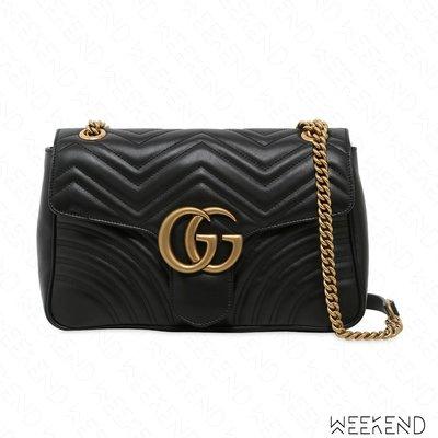 【WEEKEND】 GUCCI GG Medium Marmont 皮革 中款 肩背包 黑色 443496
