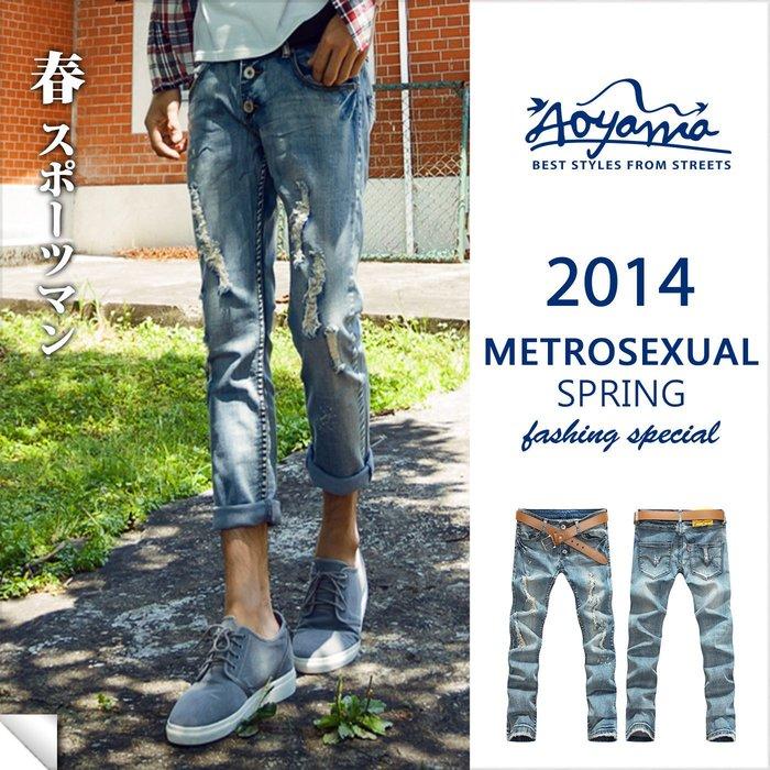 [青山~AOYAMA ]仿舊潑漆刷破設計彈力單寧9分牛仔褲【AT5026】.