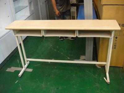 二手家具宏品 台中全新中古傢俱 E507*多功能三人木紋課桌椅 補習班桌椅 兒童書桌椅 大學椅*2桌椅拍賣 電腦桌