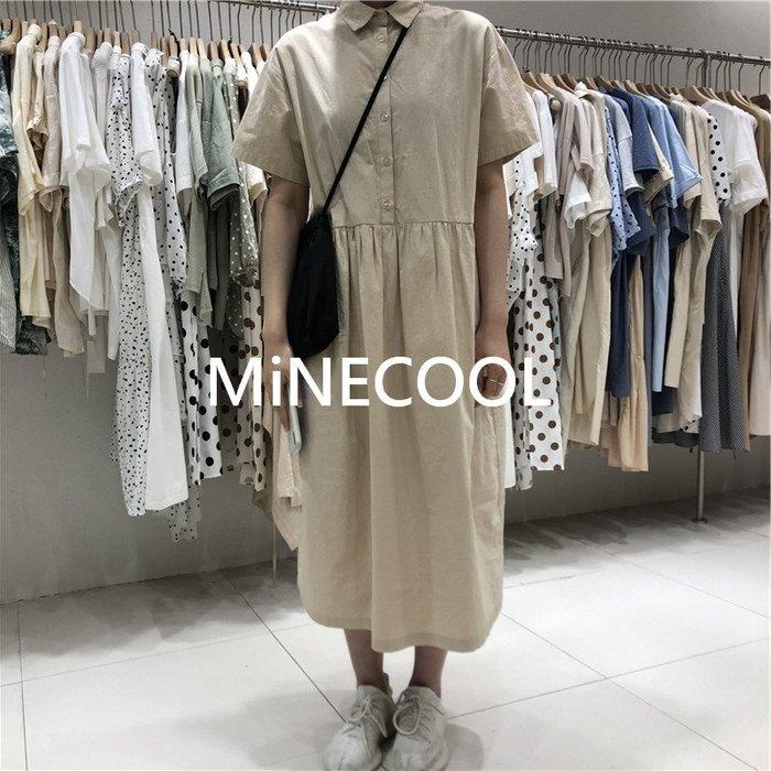 MiNE SHOP韓國高單 簡約百搭顯瘦中長款襯衫連衣裙M9603-1四色 均碼
