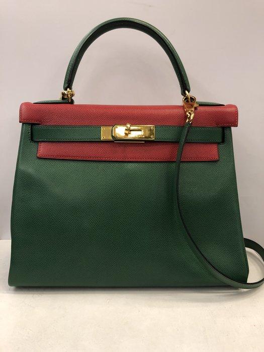 【RECOVER 名品二手】HERMES 紅綠拼色凱莉包 Kelly bag 28cm 稀有釋出 100% 愛馬仕 真品