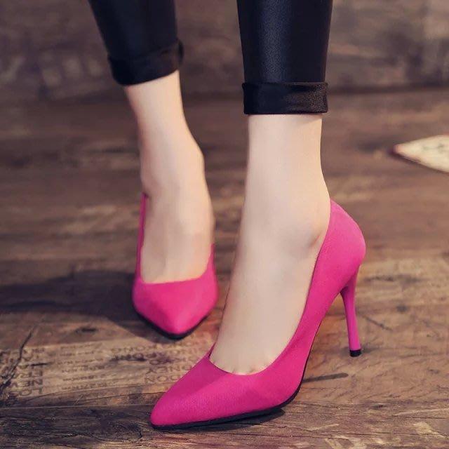 少女高跟鞋子秋季2018新款韓版百搭尖頭黑色性感細跟淺口單鞋中跟