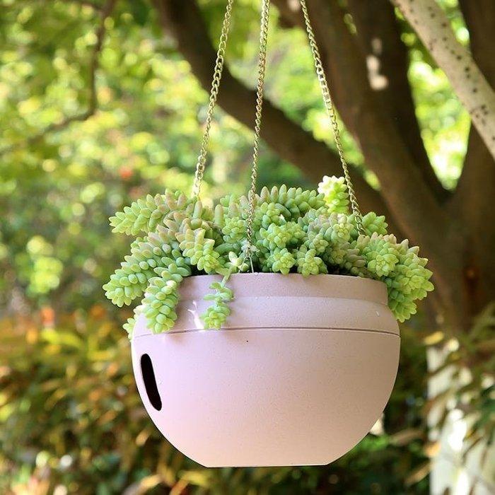 印山吊蘭塑料垂掛花盆懶人自吸水陽臺創意室內外綠蘿樹脂懸掛吊籃【全館免運】