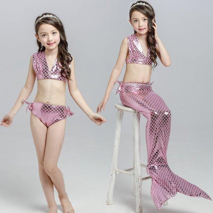 •*~ 辣媽咪衣飾小舖 ~*•❤童裝系列 📣C870826韓版卡通美人鱼尾巴表演泳装(上衣+內褲+魚尾)