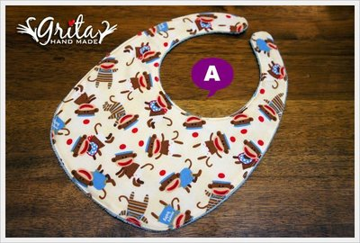 ♥gritas handmade♥純棉手作嬰幼兒圍兜兜/領巾/口水巾/三角巾/彌月禮—小猴子