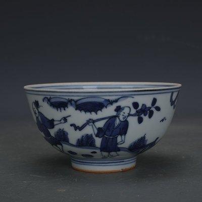 ㊣姥姥的寶藏㊣ 大明嘉靖款青花手繪人物紋瓷碗柴窯  出土文物古瓷器古玩收藏擺件