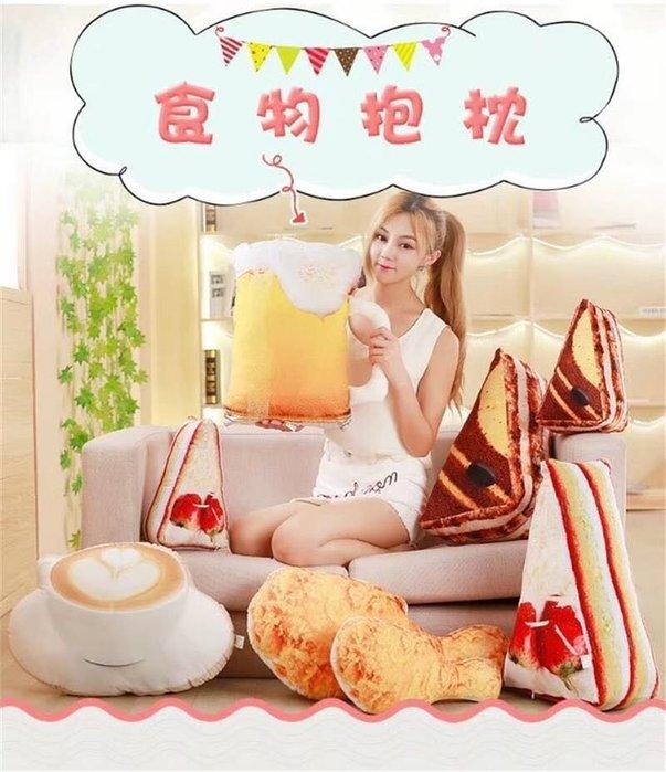 創意仿真炸雞腿草莓蛋糕提拉米蘇/咔拉雞腿抱枕玩具沙發枕靠腰墊/午安枕聖誕節生日