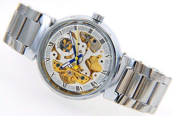 (六四三精品)全金屬錶殼及錶帶.雙面鏤空.自動上鍊機械錶.銀面金機