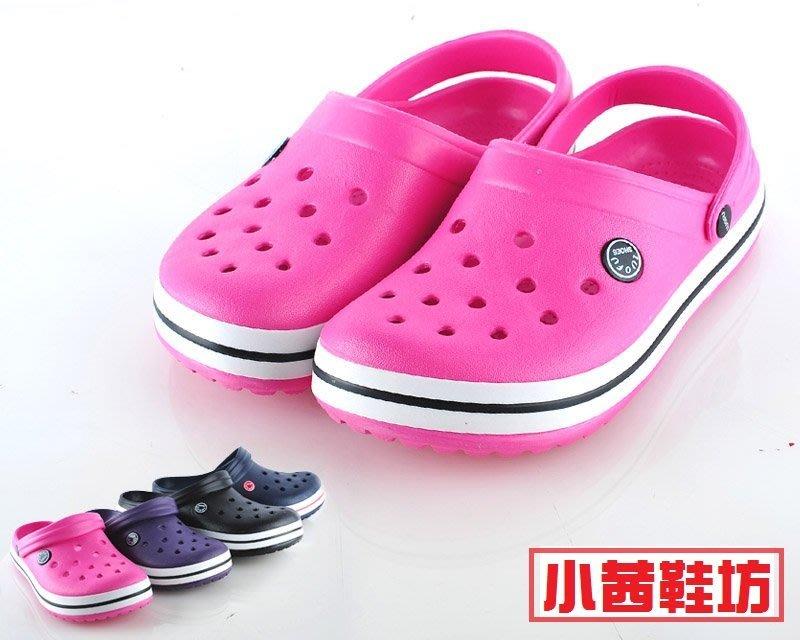 【小茜鞋坊??Y拍館】一體成形舒適超透氣防水 洞洞鞋/布希鞋-現有 桃紅.藍.紫.黑 四色 - 超值特價$180