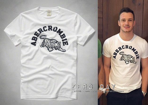 A&F Abercrombie&Fitch APPLIQUE LOGO GRAPHIC TEE動物老虎貼布短T-白色