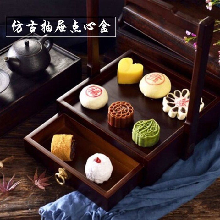 仿古抽屜提手盒子創意竹木點心盒京味齋烤鴨特色意境餐具(抽屜盒鐵板套裝)