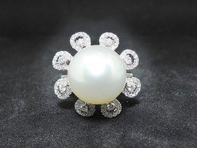【D-W 香港鑽石世界】(天然特級南洋珍珠) 全新18K白金配85份天然鑽石 珍珠戒指 --- 137