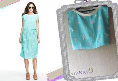 *最後出清價*Lauren Moffatt Starfish Silk Top海水藍海星絲質短版上衣kenzo msgm