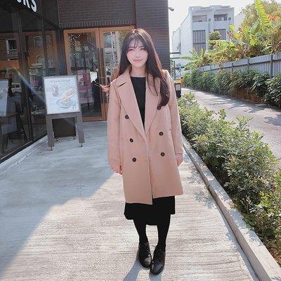 【ZEU'S】歐美保暖羊毛呢排扣大衣『 02120909 』【現+預】A