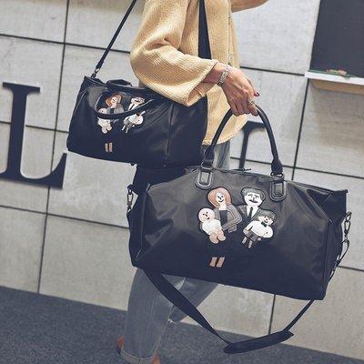韓版大容量健身手提行李袋防水牛津布短途旅行媽咪大包Y-優思思