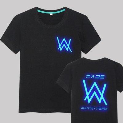 艾倫沃克DJ短袖純棉夜光T恤Alan Walker 同款Faded電音夏季男女潮