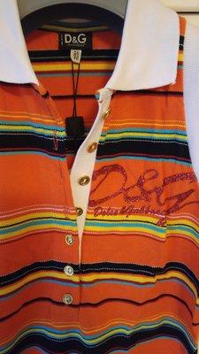 全新【DOLCE&GABBANA】【D&G】橘色水鑽七彩條紋無袖POLO衫