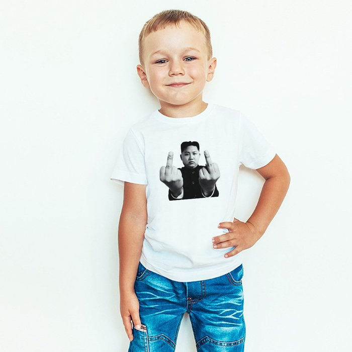 Kim Jong un Finger兒童短袖T恤 白色 童裝嬰幼兒禮物親子裝 t 100~150cm 班服