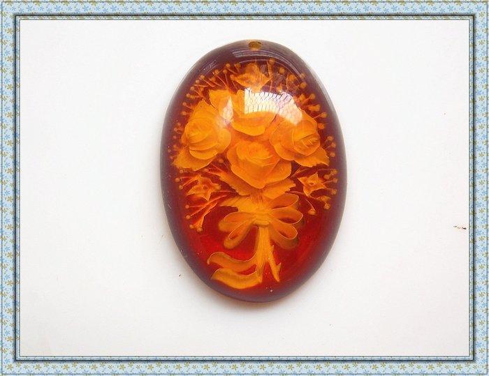 【雅之賞|藏傳|佛教文物】特賣* 早期收藏 天然琥珀吊墜~052703
