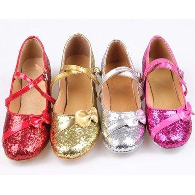 5Cgo【鴿樓】會員有優惠 35778852076 秋冬拉丁舞鞋女兒童 女童中跟包頭舞蹈鞋 少兒軟底小孩兒童跳舞鞋