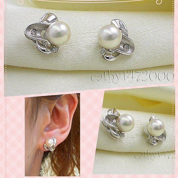 。 ☆凱希小舖☆。♥特價♥天然 鑽石 日本珍珠 k金耳環No.6410
