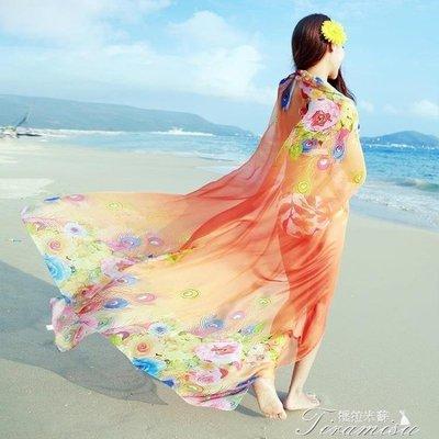 ZIHOPE 絲巾女春長款印花百搭空調披肩夏季海邊防曬沙灘巾韓版雪紡圍巾ZI812