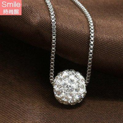 【33A55】SMILE-閃亮獨特.時尚簡約鑲鑽球項鏈