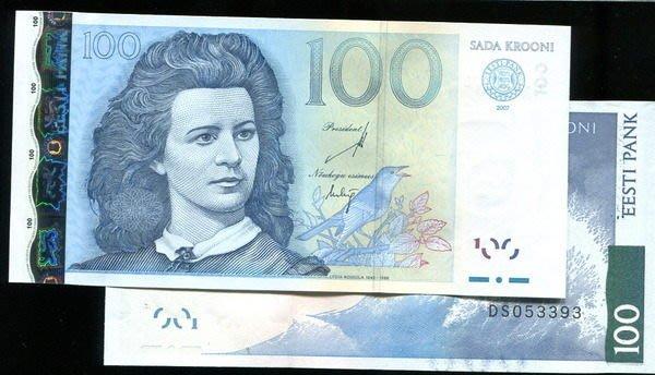 ESTONIA(愛沙尼亞紙幣),P88,100-KROON,2007,品相全新UNC 動物 鳥