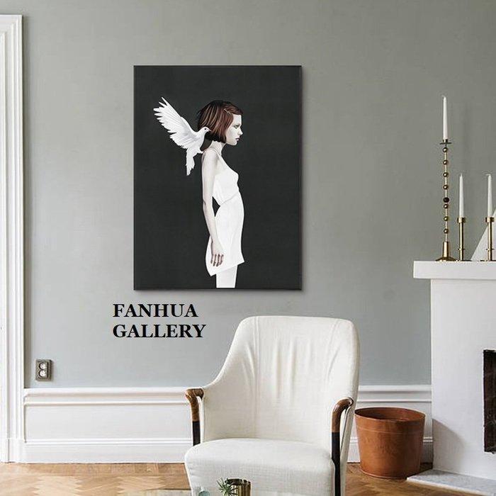 C - R - A - Z - Y - T - O - W - N 北歐人物白鴿版畫玄關裝飾畫個性創意日式民宿掛畫北歐風小眾藝術掛畫新居落成禮物裝飾壁畫客廳牆畫