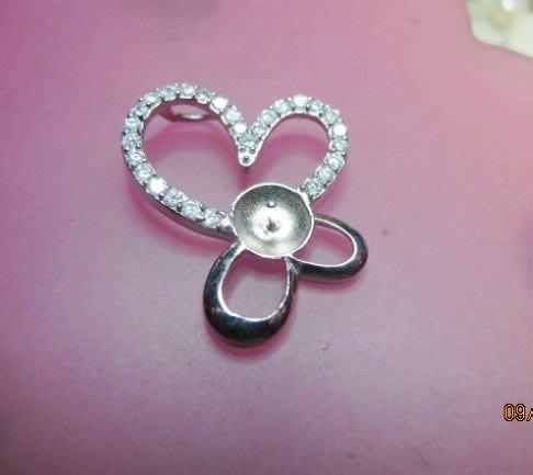 [一品軒庫存促銷品]大款925純銀珍珠.玉石豪華造型鑲鑽墜子台.