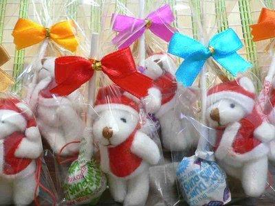 須自行包裝~聖誕熊+美國棒棒糖/拐杖糖+蝴蝶結包裝袋~耶誕節派對熊結婚禮小物二次進場聖誕節慶生日分享禮來店禮開幕禮迎賓禮