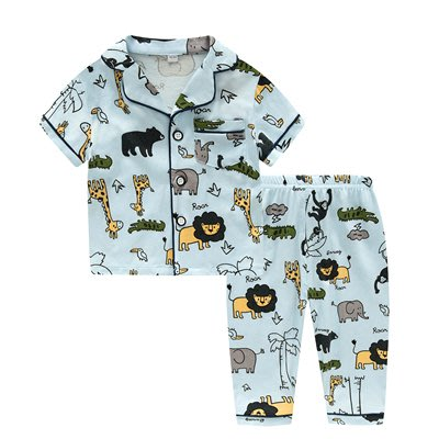•*~ 辣媽咪衣飾小舖 ~*•❤童裝系列❤K950198韓版兒童夏款超可愛萌款『長頸鹿』圖案家居服上衣+長褲二件套