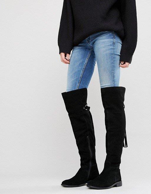 ◎美國代買◎ASOS流蘇裝飾拉鏈裝飾設計吉普賽風麂皮平底流蘇過膝靴~歐美街風~大尺碼