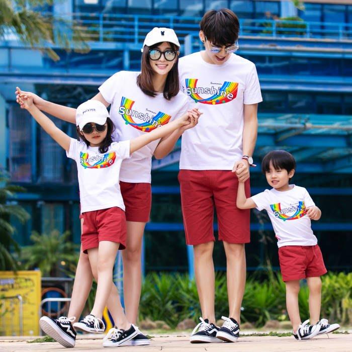 【甜蜜蜜親子童裝】韓版928《陽光彩虹》短袖親子裝♥情侶裝 ((三件組))