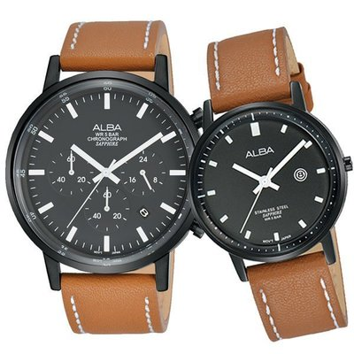 ALBA 雅柏 簡單生活皮帶對錶-黑x咖啡//VD53-X296J/VJ22-X268J