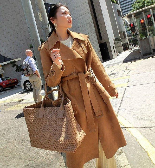 《巴黎拜金女》新西蘭小羊皮大衣英倫復古風羊皮反絨大衣中長款毛呢外套