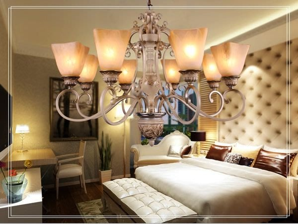 凱希美屋 唯美浪漫鍛鐵吊燈 古白八燈 歐式客廳燈  鄉村田園