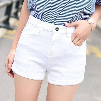 高腰牛仔短褲 女夏2019新款chic顯瘦百搭彈力卷邊修身韓版時尚熱褲