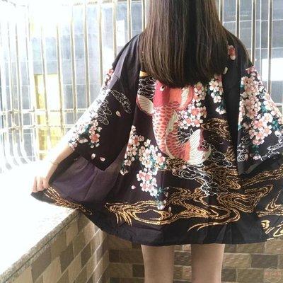 日式原宿男女七分袖薄開衫防曬衣寬鬆大碼和服外套浴衣學生潮   全館免運