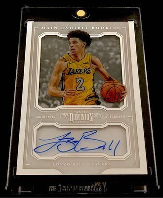 2017-18 Dominion Rookie Exhibit /49 Lonzo Ball (新人卡On-Card Auto~44/49~BV150)