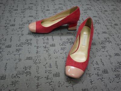 義大利製 L'AUTRE CHOSE 高級漆皮&麂皮雙色粗跟鞋 EUR 36.5 USA 6 JPN 23 CM