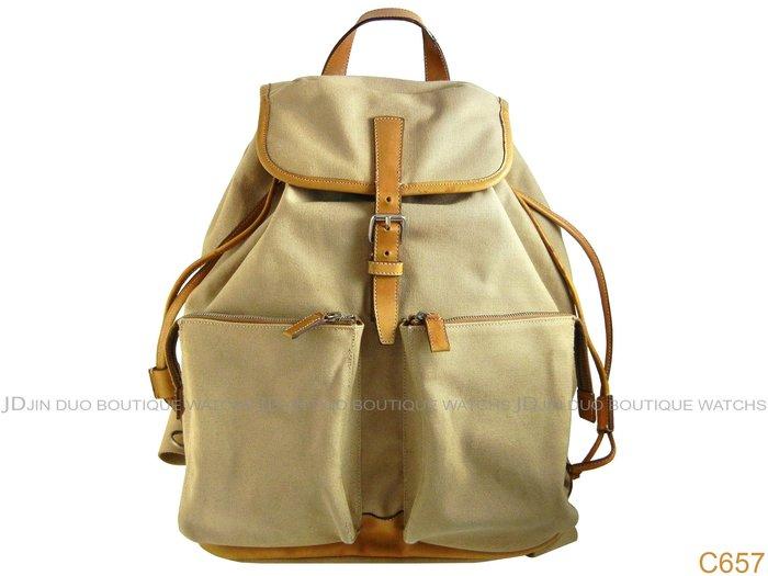 金鐸精品~C657 PRADA 駝色帆布皮革包邊束帶 後背包