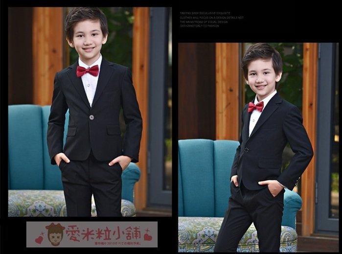 兒童西服四件組 男童西裝 修身窄版 ☆愛米粒☆ K13黑色外套款 110-170碼 45KG內適穿