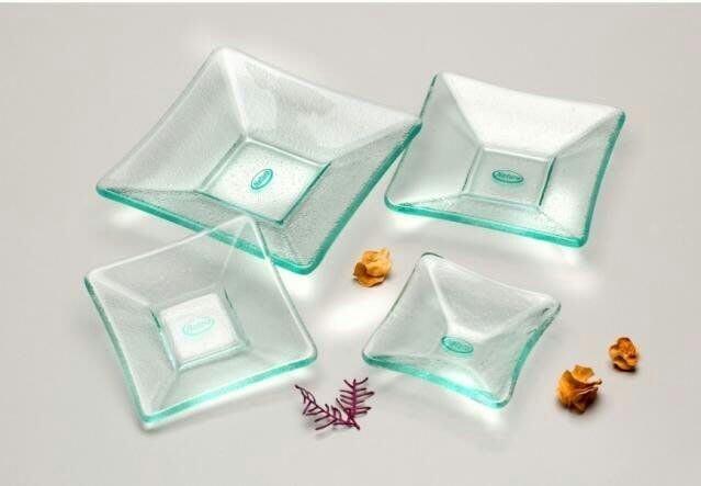 正方形雕花玻璃碟盤/冷盤/小菜碟/醬料碟