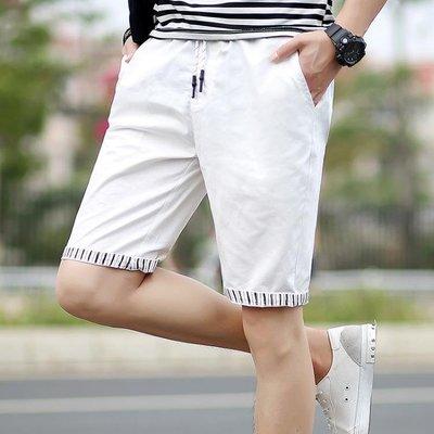 夏季新款男士短褲五分褲中青年寬鬆純棉沙灘褲純色松緊褲大褲衩