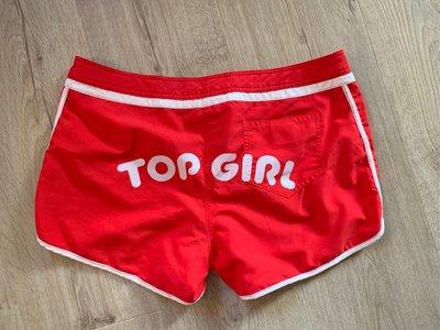 TOP GIRL專櫃品牌正品女用紅色海灘風雙面穿運動褲