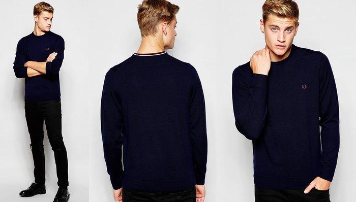 ◎美國代買◎ASOS代買Fred Perry運動風條紋裝飾背面領口的深色素面圓領女純羊毛毛衣~歐美街風~大尺碼