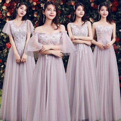 伴娘禮服新款冬季姐妹裙長款伴娘團閨蜜小禮服顯瘦年會晚禮服